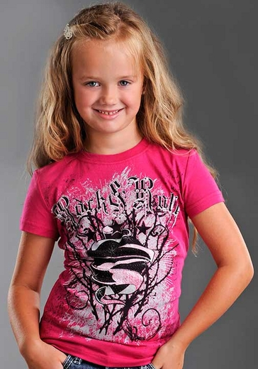 Rock & Roll Cowgirl Girl's Short Sleeve Hearts, Thorns, and Stars Shirt - Hot Pink