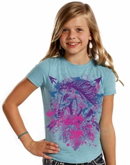 Rock & Roll Cowgirl Girl's Short Sleeve Horse Print Tee Shirt - Blue