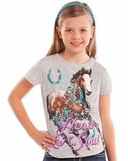 Rock & Roll Cowgirl Girl's Short Sleeve Horse Print Tee Shirt - Grey