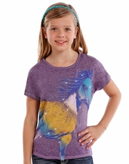 Rock & Roll Cowgirl Girl's Short Sleeve Horse Print Tee Shirt - Purple