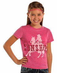 Rock & Roll Cowgirl Girl's Short Sleeve Horse Tee Shirt - Hot Pink