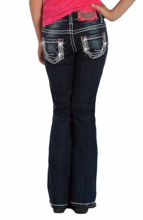 Rock & Roll Cowgirl Girls Boot Cut Embroidered Jeans (Closeout)