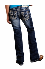 Rock & Roll Cowgirl Girls Boot Cut Jeans with Abstract Embroidery (Closeout)