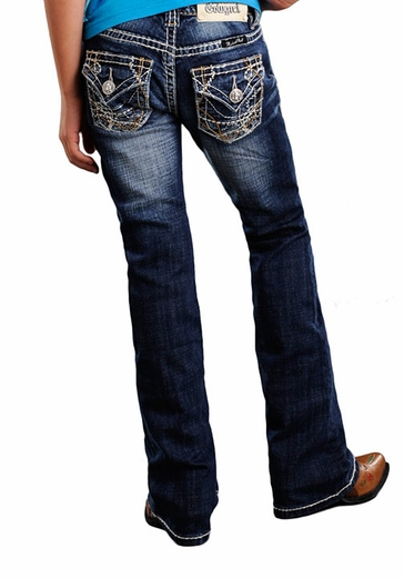Rock & Roll Cowgirl Girls Boot Cut Jeans with Abstract Embroidery