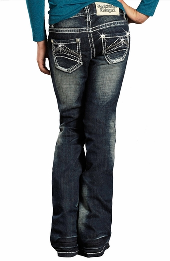 Rock & Roll Cowgirl Girls Boot Cut Jeans with Abstract Stitching - Dark Wash