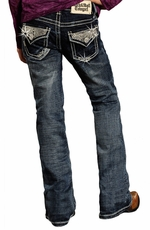Rock & Roll Cowgirl Girls Boot Cut Jeans with Rhinestone Flap Pockets - Dark Wash