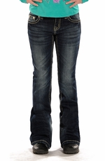 Rock & Roll Cowgirl Girls Boot Cut Jeans with Rhinestones