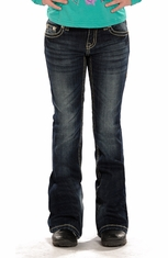 Rock & Roll Cowgirl Girls Boot Cut Jeans with Rhinestones (Closeout)