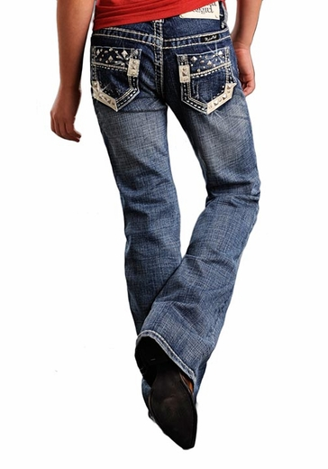 Rock & Roll Cowgirl Girls Boot Cut Leather Trim and Nailhead Jeans