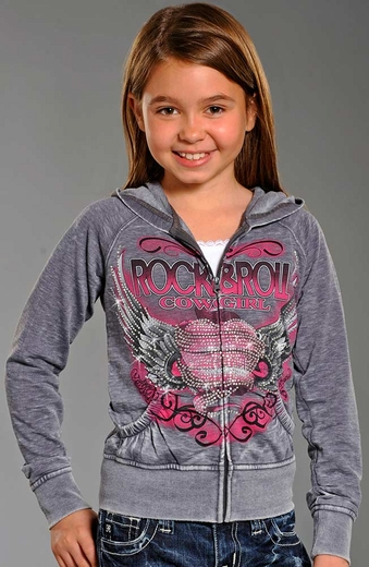 Rock & Roll Cowgirl Girls Winged Heart Hoodie - Steel