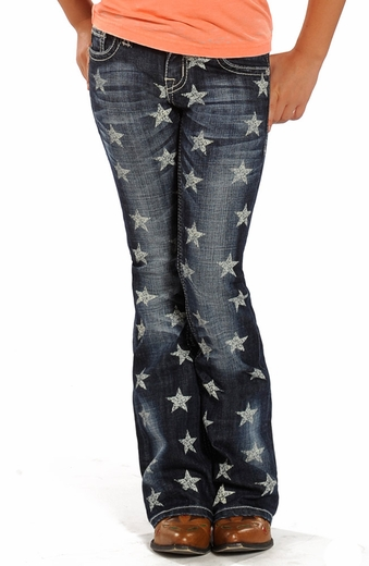 Rock & Roll Cowgirl Girls Star Print Boot Cut Jeans- Dark Vintage Wash