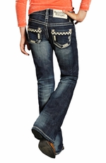 Rock & Roll Cowgirl Girls Leather Stitch Pocket Jeans - Medium Wash