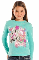 Rock & Roll Cowgirl Girls Long Sleeve Burnout Butterfly Horse Tee Shirt - Turquoise
