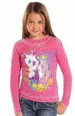 Rock & Roll Cowgirl Girls Long Sleeve Burnout Horse Tee Shirt - Pink