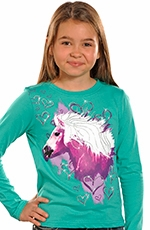 Rock & Roll Cowgirl Girls Long Sleeve Horse Tee Shirt - Turquoise (Closeout)