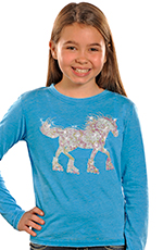 Rock & Roll Cowgirl Girls Long Sleeve Roller Horse Tee Shirt - Blue (Closeout)