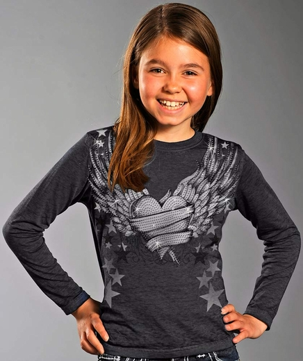 Rock & Roll Cowgirl Girls Long Sleeve Winged Heart Tee Shirt - Grey