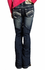 Rock & Roll Cowgirl Girls Rhinestone Arch Boot Cut Jeans - Dark Wash (Closeout)