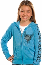 Rock & Roll Cowgirl Girls Rodeo Hoodie - Turquoise (Closeout)