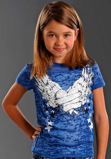 Rock & Roll Cowgirl Girls Short Sleeve Burnout Winged Heart Tee Shirt - Blue