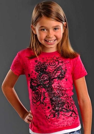 Rock & Roll Cowgirl Girls Short Sleeve Cross & Roses Burnout Tee Shirt - Hot Pink