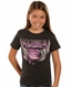 Rock & Roll Cowgirl Girls Short Sleeve Logo Tee Shirt - Charcoal (Closeout)