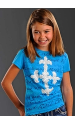 Rock & Roll Cowgirl Girls Short Sleeve Script and Cross Tee Shirt - Bright Blue