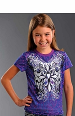 Rock & Roll Cowgirl Girls Short Sleeve Winged Cross Tee Shirt - Purple (Closeout)