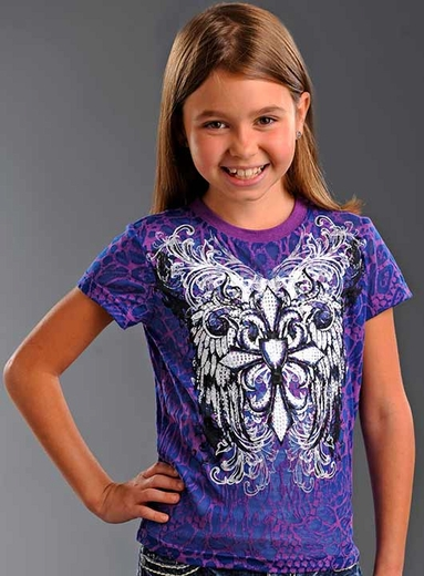 Rock & Roll Cowgirl Girls Short Sleeve Winged Cross Tee Shirt - Purple