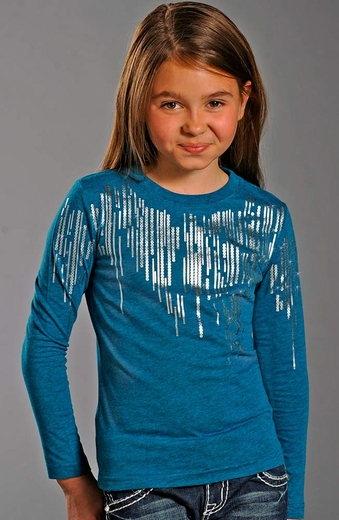 Rock & Roll Cowgirl Long Sleeve Foil Tee Shirt - Blue