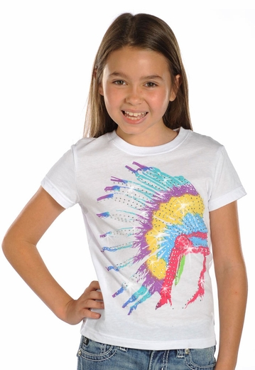 Rock & Roll Cowgirl Girls Short Sleeve Native American Headdress Tee Shirt - White (Closeout)