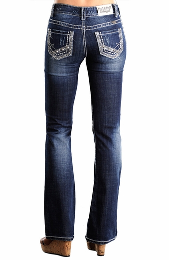 Rock & Roll Cowgirl Womens Mid Rise Boot Cut Jeans with Embroidery, Rhinestones & Sequins