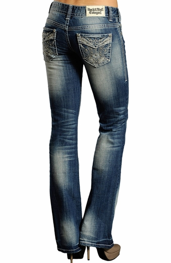 Rock & Roll Cowgirl Low Rise Boot Cut Flap Pocket Jeans (Closeout)