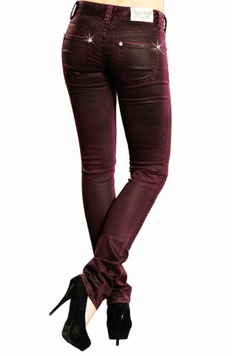 Rock & Roll Cowgirl Womens Low Rise Coated Skinny Jeans - Maroon (Closeout)