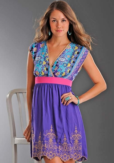 Rock & Roll Cowgirl Junior's Sleeveless Bohemian Print Dress - Purple