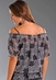 Rock & Roll Cowgirl Juniors Short Sleeve Leopard Print Peasant Top - Dark Gray