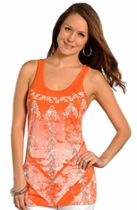Rock & Roll Cowgirl Knit Tank - Orange (Closeout)