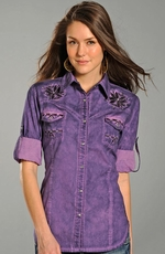 Rock & Roll Cowgirl Womens Long Sleeve Bleach Wash Western Shirt - Purple
