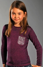 Rock & Roll Cowgirl Girls Long Sleeve Burnout Tee Shirt - Purple (Closeout)