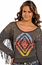 Rock & Roll Cowgirl Women's Long Sleeve Fringe Sweater - Grey