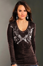 Rock & Roll Cowgirl Women's Long Sleeve Gun Burnout Top - Chocolate (Closeout)