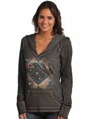 Rock & Roll Cowgirl Long Sleeve Hoodie - Charcoal