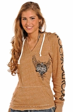 Rock & Roll Cowgirl Women's Long Sleeve Pullover Hoodie- Taupe