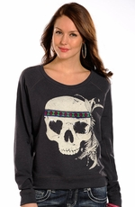 Rock & Roll Cowgirl Women's Long Sleeve Skull Top - Grey