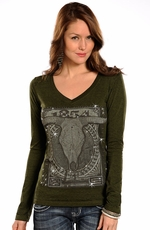 Rock & Roll Cowgirl Women's Long Sleeve Steerhead Top - Olive