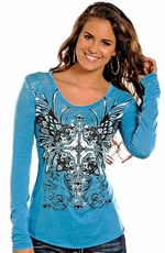 Rock & Roll Cowgirl Women's Long Sleeve Winged Cross Top - Blue