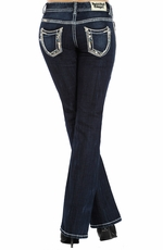 Rock & Roll Cowgirl Women's Low Rise Boot Cut Jeans with Multi Colored Stones - Dark Wash
