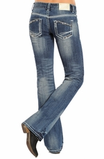 Rock & Roll Cowgirl Low Rise Boot Cut Jeans - Medium Wash