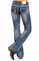 Rock & Roll Cowgirl Low Rise Boot Cut Jeans - Medium Wash (Closeout)