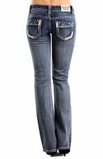 Rock & Roll Cowgirl Low Rise Boot Cut Jeans with Leather & Nailheads